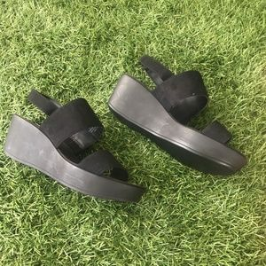 H&M Essential Black Wedge Sandal Size 8 or 38